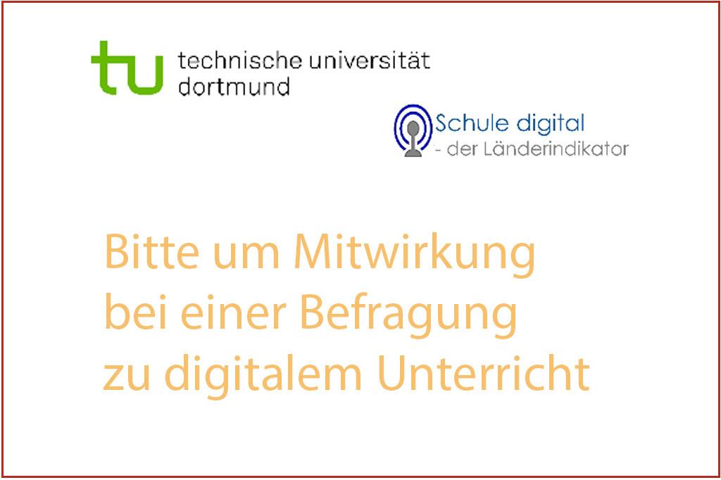 Bitte um Mitwirkung bei einer Befragung zu digitalem Unterricht